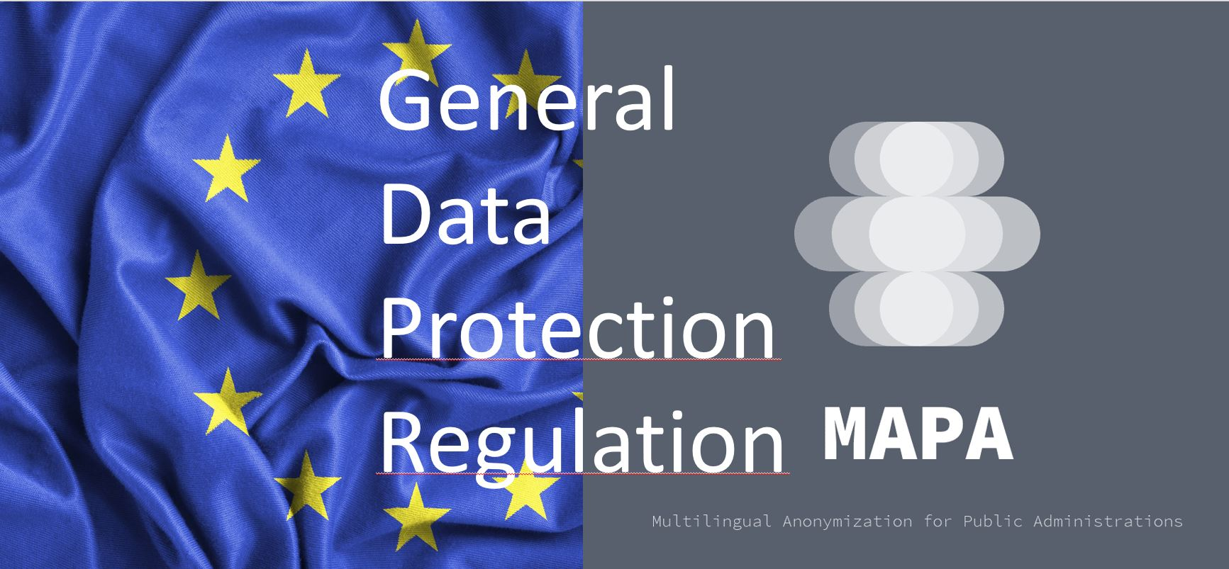 Blue and yellow starred flag of europe with MAPA project logo and General Data Protection Regulation
